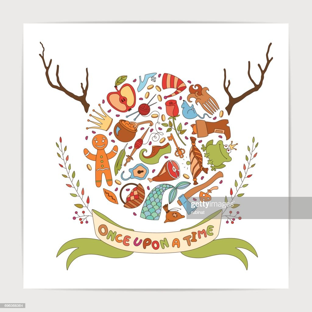 Pretty vector illustration made of fairy tale elements.
