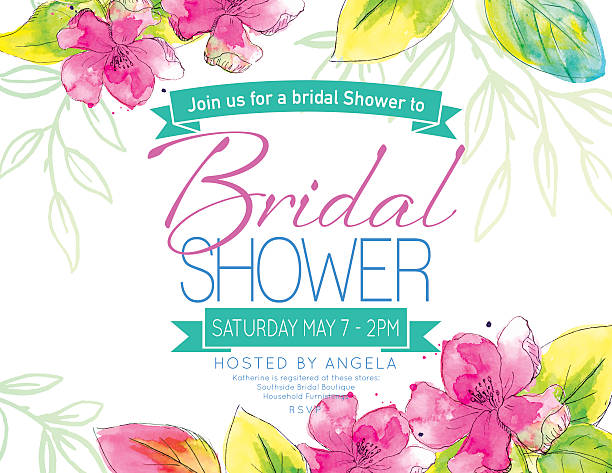 pretty watercolor flowers bridal shower party invitation template - femininity stock illustrations