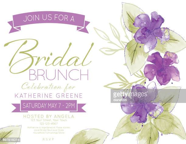 pretty watercolor flowers bridal shower party invitation template - purple stock illustrations