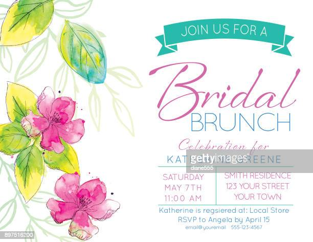 Pretty Watercolor Flowers Bridal Shower Party Invitation Template