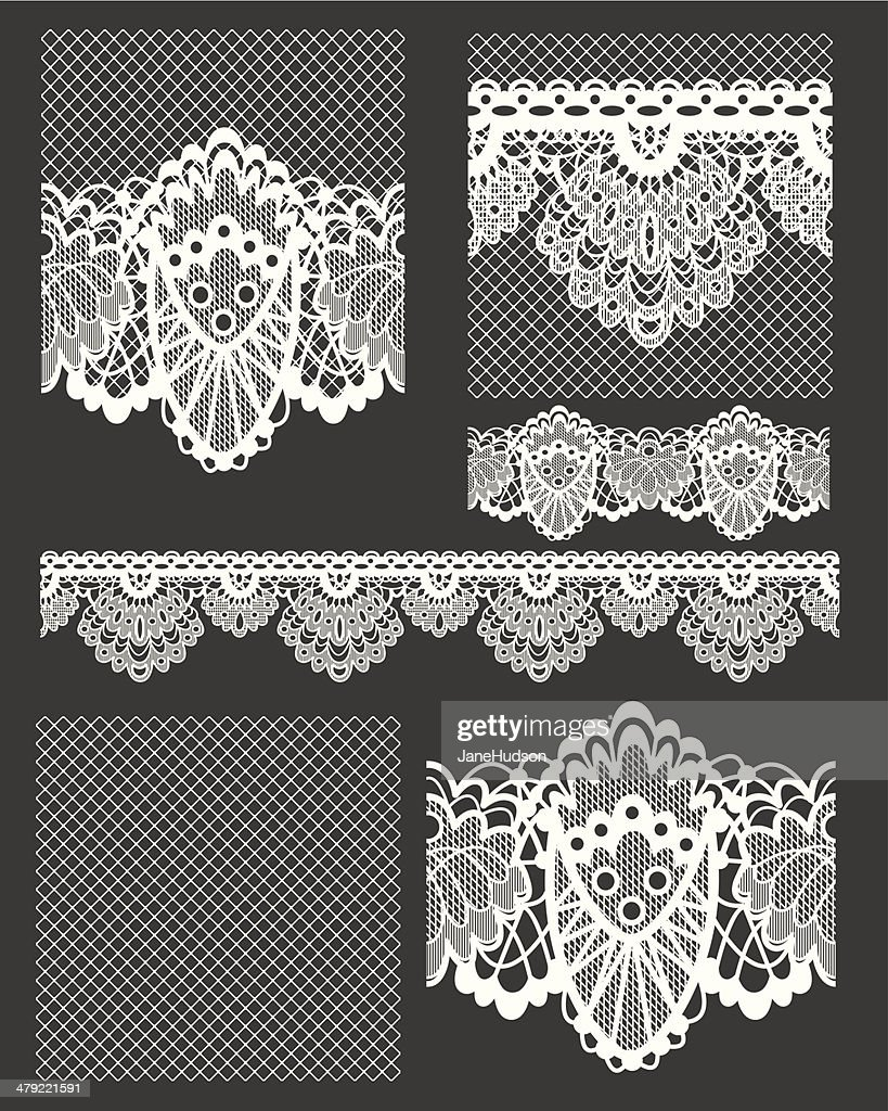 Pretty White Lace Seamless Vector Patterns.
