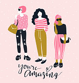 Pretty young fashion women with handwritten lettering 'You're amazing' on the pink polka dot background. Vector illustration. Beauty salon.