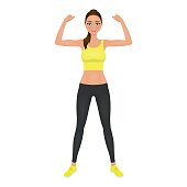 Pretty young fit woman showing her biceps. Smiling girl in leggings and crop top. Isolated vector character.