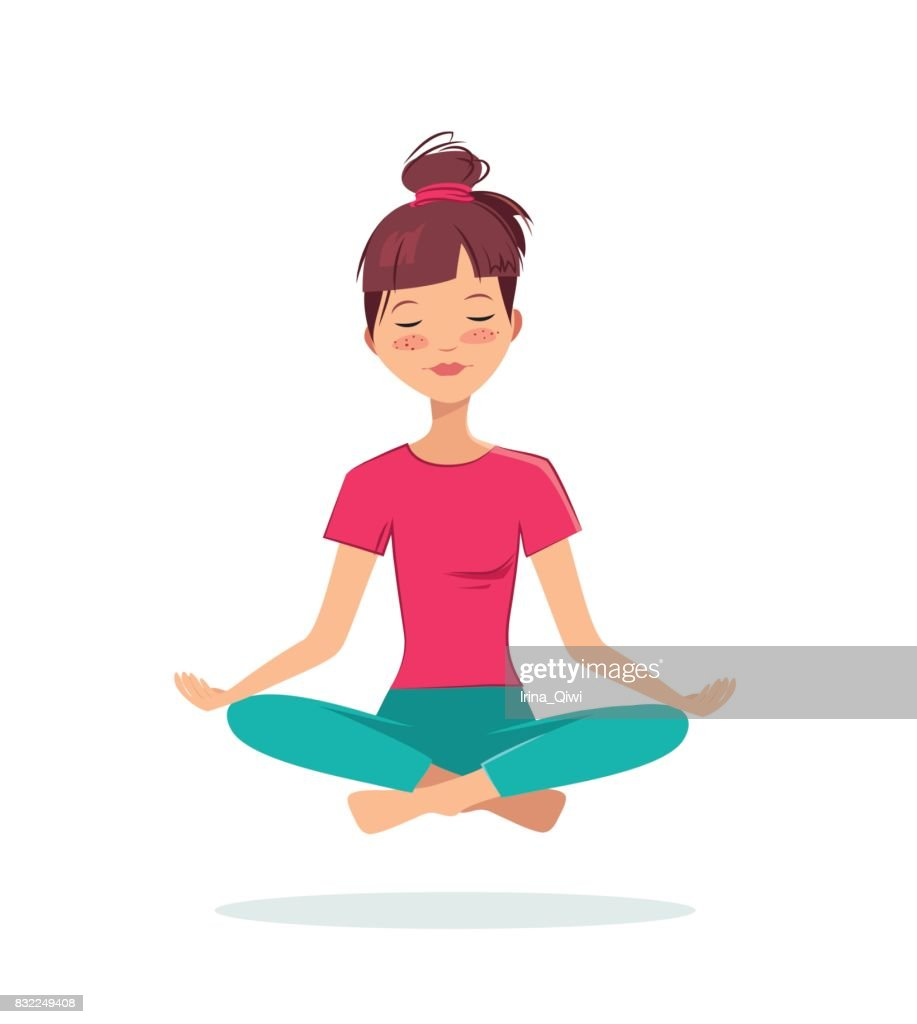Pretty young girl practices yoga in the lotus position.