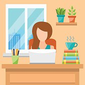 Pretty Young Woman Working At Office Concept