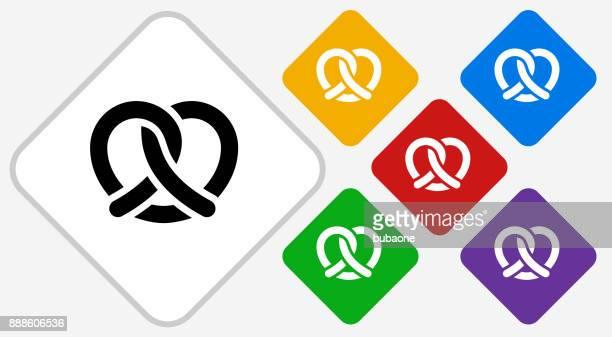 pretzel color diamond vector icon - pretzel stock illustrations, clip art, cartoons, & icons