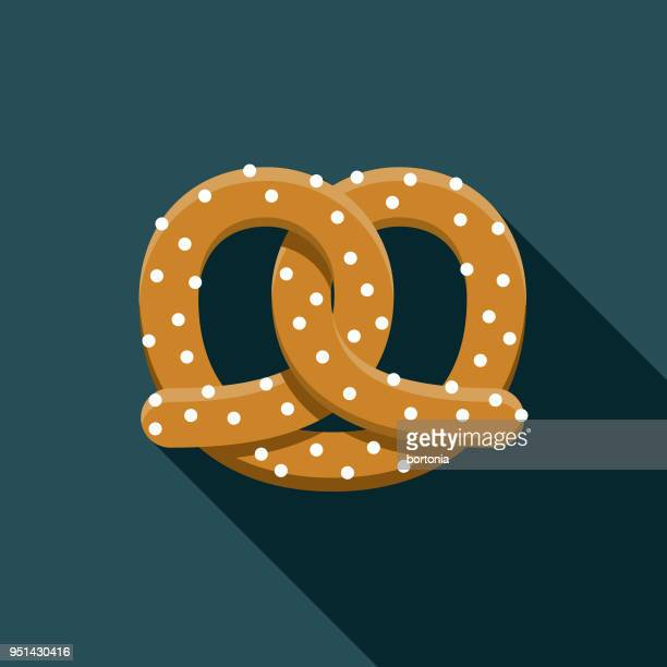 pretzel flat design carnival icon with side shadow - pretzel stock illustrations, clip art, cartoons, & icons