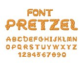 Pretzel font. Food alphabet. Traditional German meal is ABC. Bake snack