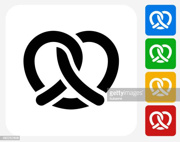 pretzel icon flat graphic design - pretzel stock illustrations, clip art, cartoons, & icons