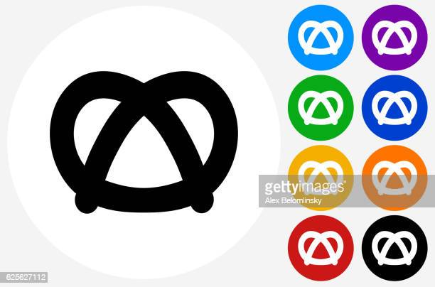 pretzel icon on flat color circle buttons - pretzel stock illustrations, clip art, cartoons, & icons