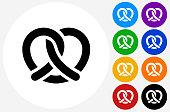 Pretzel Icon on Flat Color Circle Buttons