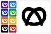 Pretzel Icon Square Button Set