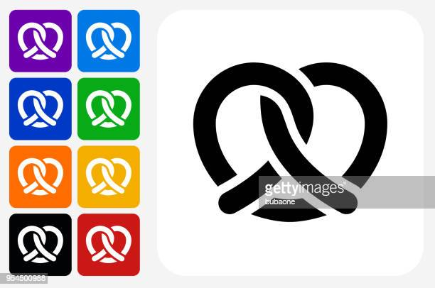 pretzel icon square button set - pretzel stock illustrations, clip art, cartoons, & icons
