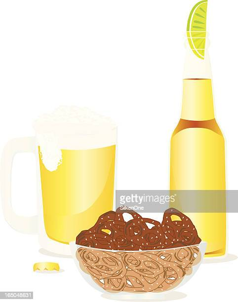 pretzels and beer - lager stock illustrations, clip art, cartoons, & icons