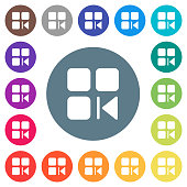 Previous component flat white icons on round color backgrounds