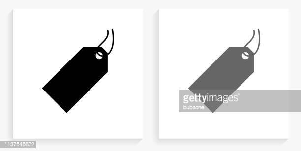 illustrazioni stock, clip art, cartoni animati e icone di tendenza di icona del quadrato in bianco e nero con cartellino del prezzo - prezzo messaggio