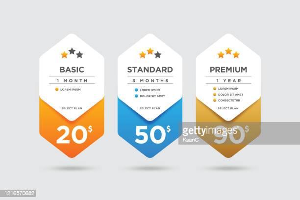 ilustraciones, imágenes clip art, dibujos animados e iconos de stock de ejemplo de stock de comparación de paquetes de precios - patrocinador