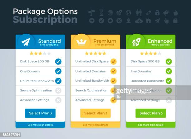 pricing packages comparison - three objects stock illustrations