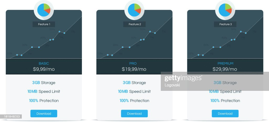 Pricing table : stock illustration