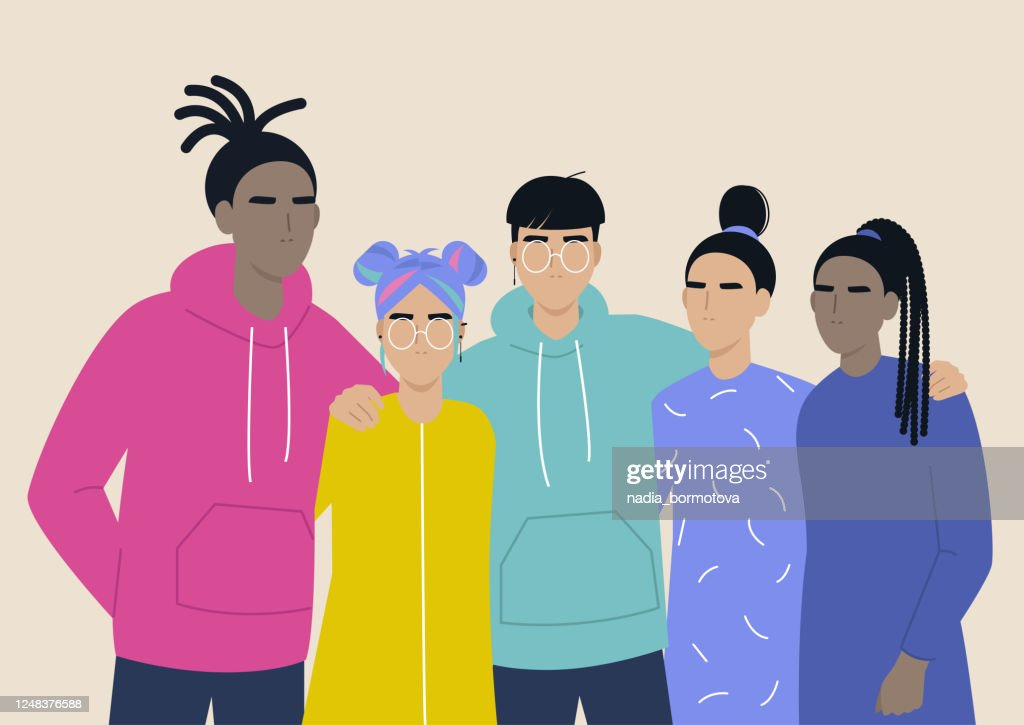 LGBTQ pride, a diverse group of people hugging each other, love is love, lesbian, gay, bisexual, transgender queer community : stock illustration