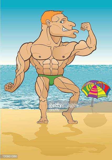 pride at the beach - abdominal muscle stock illustrations, clip art, cartoons, & icons