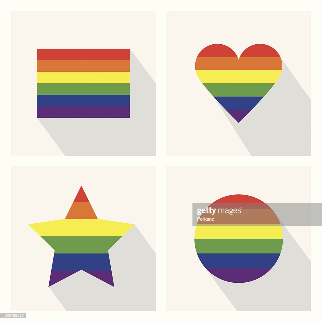 Pride flag icons in different shapes