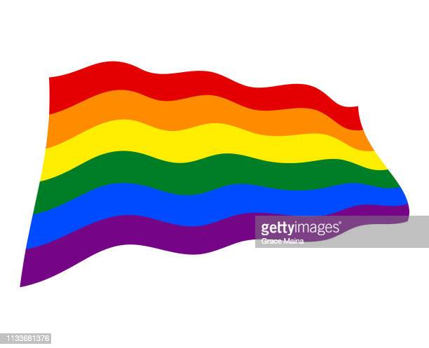 lgbt pride flag waving in the air - vector - marriage equality stock illustrations, clip art, cartoons, & icons