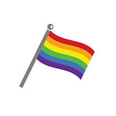 Pride gay flag vector icon on blue background