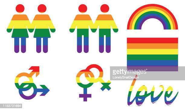 illustrations, cliparts, dessins animés et icônes de icônes de fierté - gay love