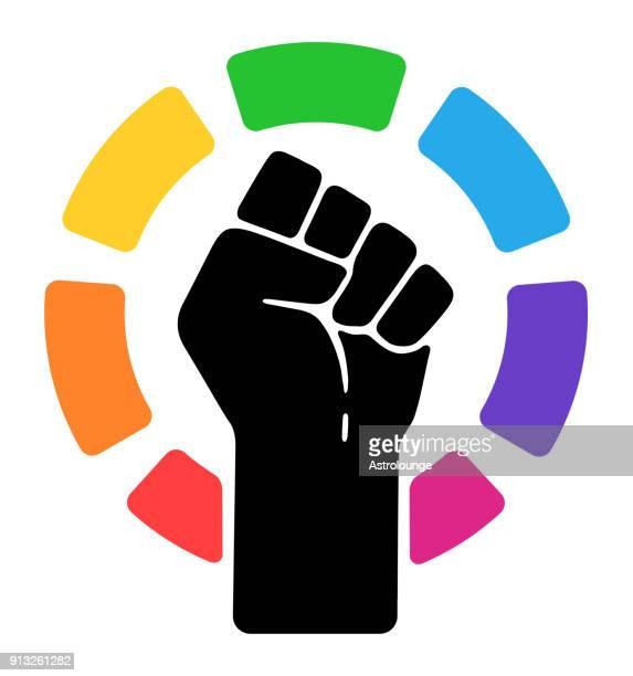 pride symbol - fist stock illustrations