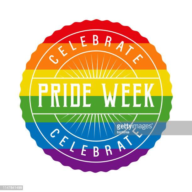 pride week rainbow button - bisexuality stock illustrations, clip art, cartoons, & icons