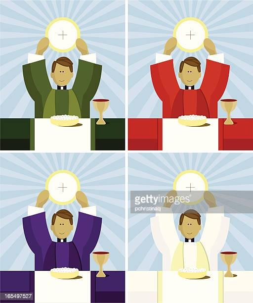 priest at mass - traditional clothing stock illustrations