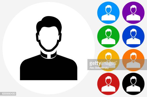 Priest Icon on Flat Color Circle Buttons