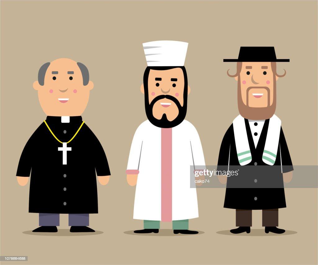 Sacerdote, İmam y rabino de dibujos animados ilustración : Ilustración de stock