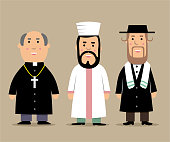 Priest, İmam and Rabbi cartoon illustration