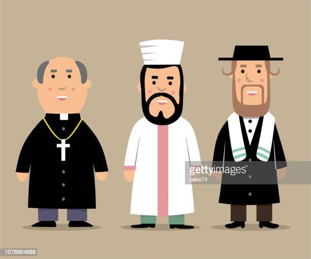 ilustraciones, imágenes clip art, dibujos animados e iconos de stock de sacerdote, i̇mam y rabino de dibujos animados ilustración - judaísmo