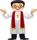 Priest wearing glasses and cross