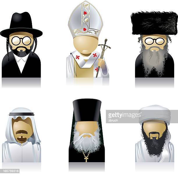 priests of the world - rabbi stock illustrations