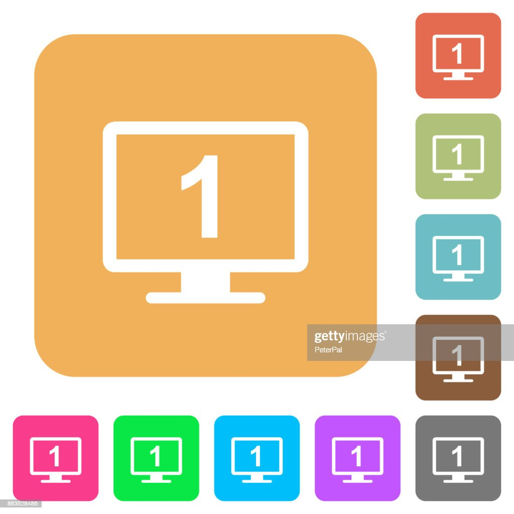 Primary display rounded square flat icons