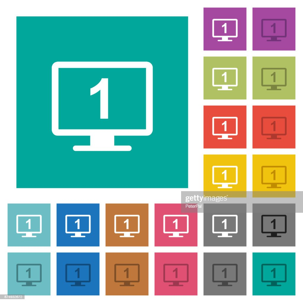 Primary display square flat multi colored icons