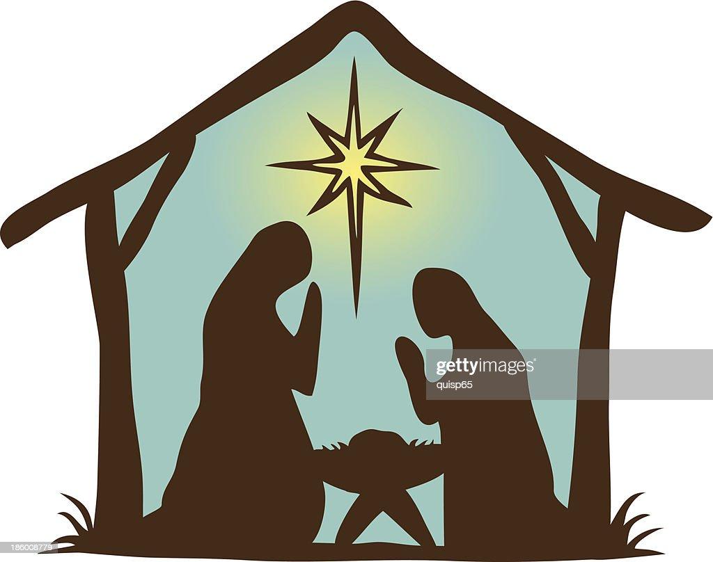 Primative Nativity Scene Vector Art Getty Images