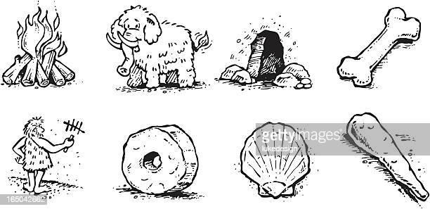 primitive art - caveman stock illustrations