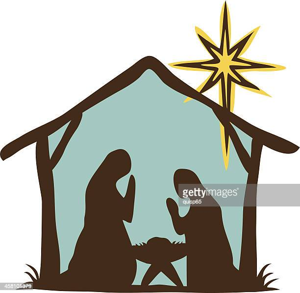 primitive nativity scene - star of bethlehem religious symbol stock illustrations, clip art, cartoons, & icons