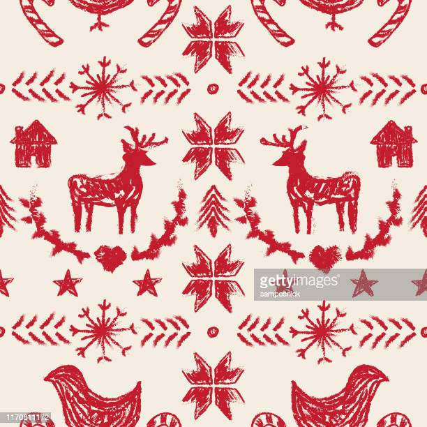 primitive nordic style winter christmas seamless pattern - tradition stock illustrations