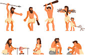 Primitive stone age people vector flat icon set