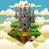 Prince and little knight in a castle on the cloud