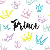 Prince card design. Hand drawn Crown pattern isolated on white background.