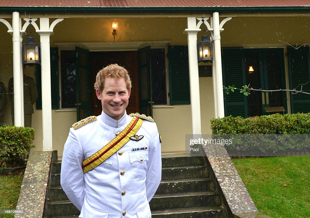 Prince Harry stands outside Duntroon House after arriving at the Royal Military College, Duntroon on April 6, 2015 in Canberra, Australia. Prince Harry, or Captain Wales as he is known in the British Army, will end his military career with a month long secondment to the Australian Defence Force in barracks in Sydney, Perth and Darwin.