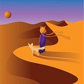 Prince in the desert with a fox.