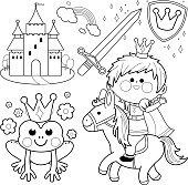 Prince riding a horse fairytale set coloring page
